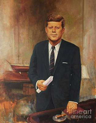 Poster featuring the painting President John F. Kennedy by Noe Peralez