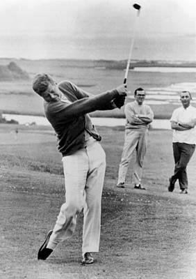 President John Kennedy Playing Golf Poster