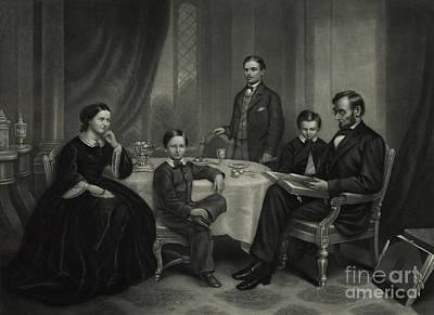 President Lincoln With His Family, 1861 Poster by Science Source