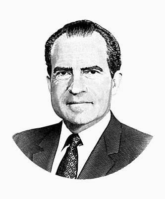 President Richard Nixon Graphic Black And White Poster