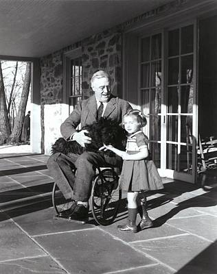 President Roosevelt In His Wheelchair Poster by Everett
