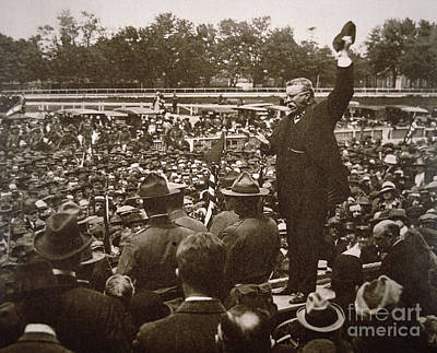 President Theodore Roosevelt Speaking At A Recruiting Rally In June 1917 Poster by American School