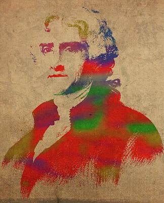 President Thomas Jefferson Watercolor Portrait Poster by Design Turnpike