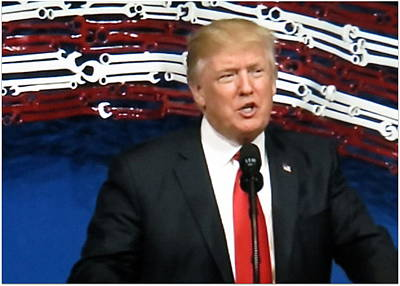 President Trump Giving A Speech At Snap On Tools Poster