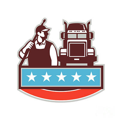 Pressure Washer Worker Truck Usa Flag Retro Poster
