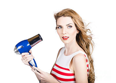 Pretty Lady Getting A Blow Dry Hair Style Poster by Jorgo Photography - Wall Art Gallery