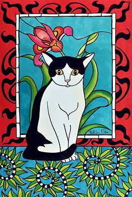 Poster featuring the painting Pretty Me In Tuxedo by Dora Hathazi Mendes