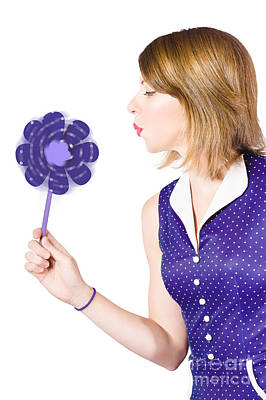 Pretty Pin Up Girl Playing With Purple Pinwheel Poster