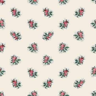 Poster featuring the digital art Pretty Pink Roses Girly Vintage Wallpaper Pattern by Tracie Kaska