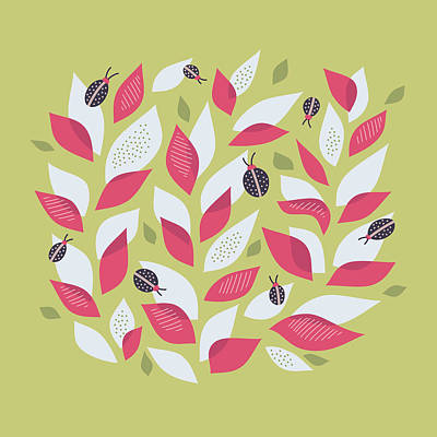 Pretty Plant With White Pink Leaves And Ladybugs Poster