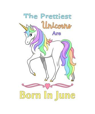 Pretty Rainbow Unicorn Born In June Birthday Poster by Crista Forest