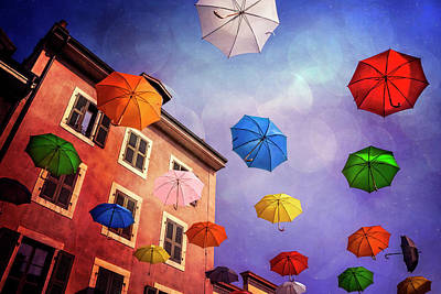 Pretty Umbrellas In Carouge Geneva  Poster