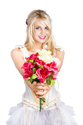 Pretty Woman With Flower Bouquet Poster by Jorgo Photography - Wall Art Gallery