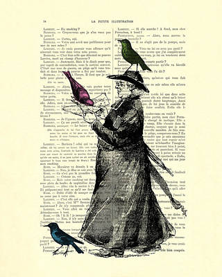 Priest And Birds Poster by Madame Memento