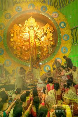 Priest Distributing Flowers For Praying To Goddess Durga Durga Puja Festival Kolkata India Poster by Rudra Narayan  Mitra