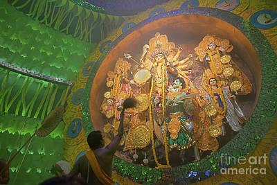 Priest Praying To Goddess Durga Durga Puja Festival Kolkata India Poster by Rudra Narayan  Mitra