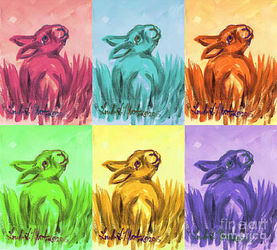Poster featuring the painting Primary Bunnies by Linda L Martin