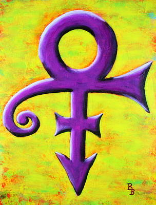 Poster featuring the painting Prince Musician Purple Symbol by Bob Baker
