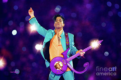 Prince Preforming At The Super Bowl Poster by Garland Johnson