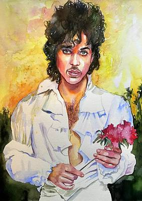Prince Rogers Nelson Holding A Rose Poster