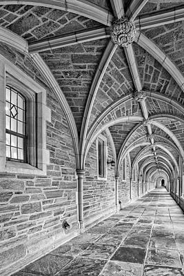 Princeton University Hallway Bw Poster by Susan Candelario