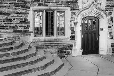 Poster featuring the photograph Princeton University Lockhart Hall Bw by Susan Candelario