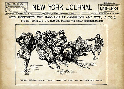 Poster featuring the mixed media Princeton Vs Harvard - New York Journal 1896 by Daniel Hagerman