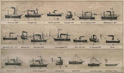 Print Depicting 19 Early Steamships Poster