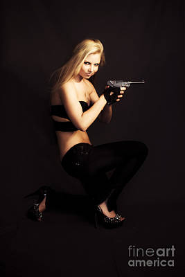 Private Investigator With Hand Gun Poster by Jorgo Photography - Wall Art Gallery
