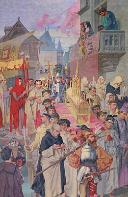 Procession Of The Reliquary Chest Of St Genevieve Poster
