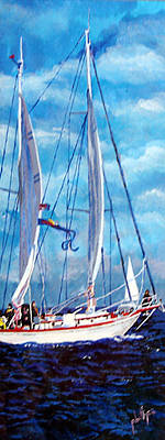 Poster featuring the painting Profile Of A Sailboat by Jim Phillips