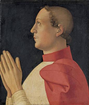 Profile Portrait Of Cardinal Philippe De Levis Poster by Antoniazzo Romano