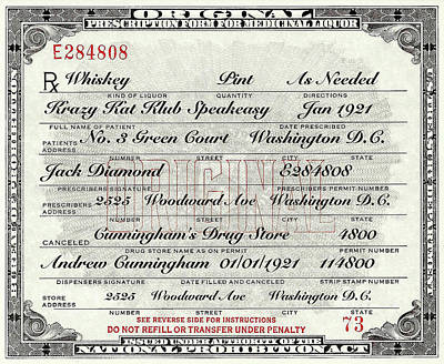 Poster featuring the photograph Prohibition Prescription Certificate Krazy Kat Klub by David Patterson