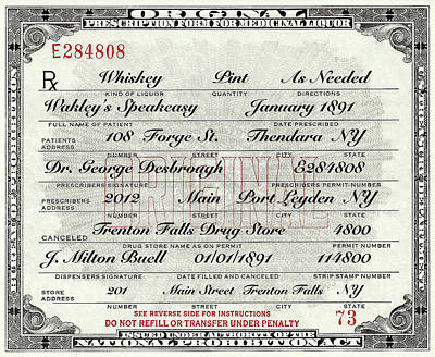 Poster featuring the photograph Prohibition Prescription Certificate Speakeasy by David Patterson