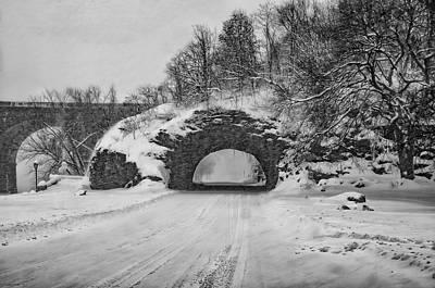 Promatory Rock Tunnel In Winter - Philadelphia  Poster by Bill Cannon