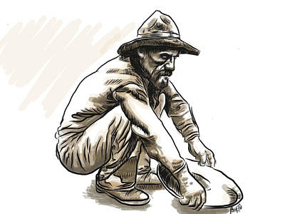 Poster featuring the drawing Prospector by Antonio Romero