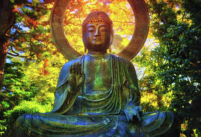 Protection Buddha #2 In Japanese Tea Garden At Golden Gate Park - San Francisco Poster by Jennifer Rondinelli Reilly - Fine Art Photography