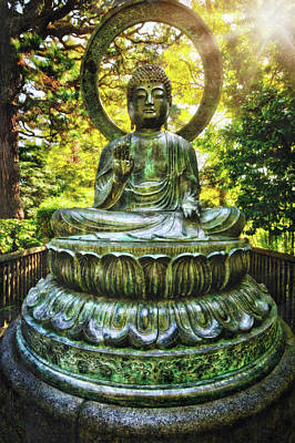 Protection Buddha In The Japanese Tea Garden At Golden Gate Park - San Francisco Poster by Jennifer Rondinelli Reilly - Fine Art Photography
