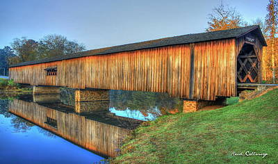 Protection That Works 2 Watson Mill Covered Bridge Reflections Poster by Reid Callaway