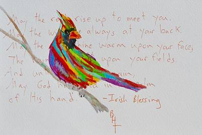 Proud Cardinal With Blessing Poster by Beverley Harper Tinsley