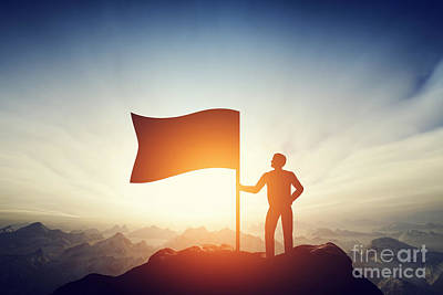 Proud Man Raising A Flag On The Peak Of The Mountain. Challenge, Achievement Poster