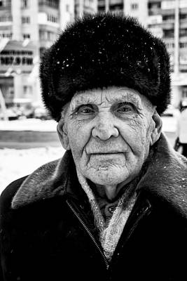 Proud Russian Old Man With Fur Hat In Winter Poster