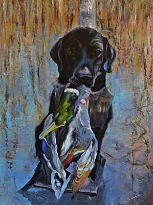 Pround Hunting Dog Labrador Retriever. Poster by Sun Sohovich