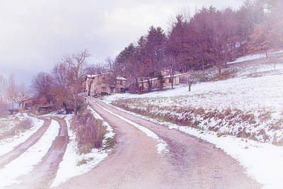 Provencal Village In Snow Poster