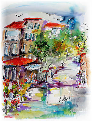 Provence Flower Market Summer Rain Poster by Ginette Callaway