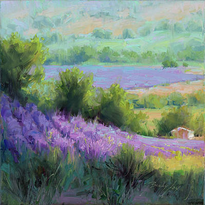 Provence France Lavender Field With Cottage Poster by Becky Joy