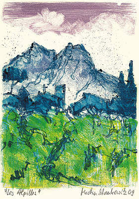 Poster featuring the painting Provence Landscape Alpilles by Martin Stankewitz