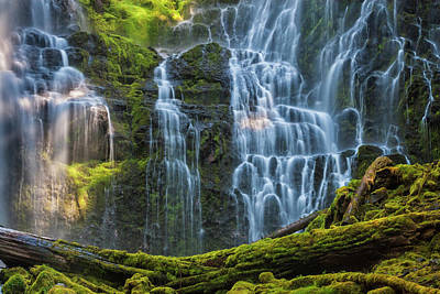 Proxy Falls Dappled In Light Poster by Mark Kiver