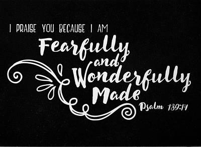 Psalm 139 14 Scripture Verses Bible Art Poster by Reid Callaway