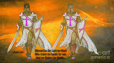 Psalm 144 Trains My Hands For Battle Poster by Beverly Guilliams